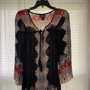 Angie Black Printed Boho Dress - Size M
